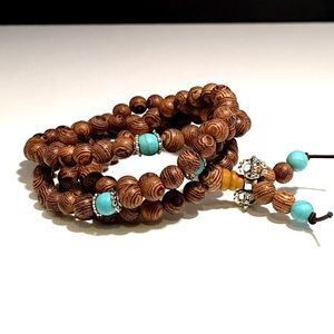📿Mala Beads, Wooden and Turquoise Style📿